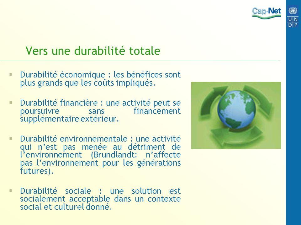 Vers une durabilité totale Durabilité économique : les bénéfices sont plus grands que les coûts impliqués. Durabilité financière : une activité peut s