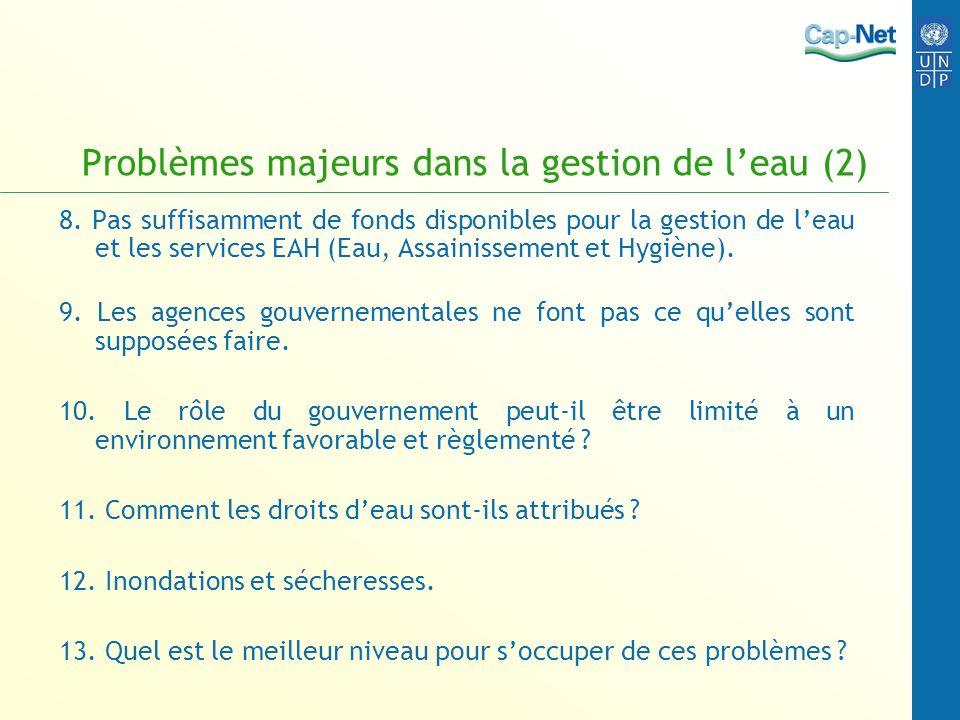 Problèmes majeurs dans la gestion de leau (2) 8. Pas suffisamment de fonds disponibles pour la gestion de leau et les services EAH (Eau, Assainissemen