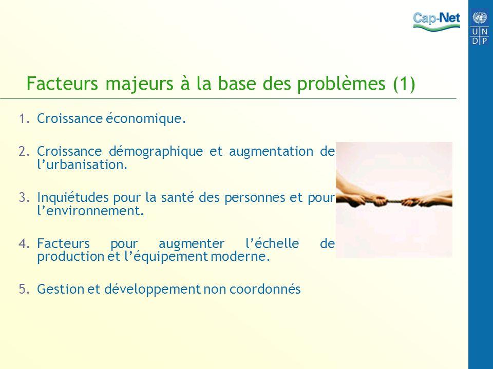 Facteurs majeurs à la base des problèmes (1) 1.Croissance économique. 2.Croissance démographique et augmentation de lurbanisation. 3.Inquiétudes pour