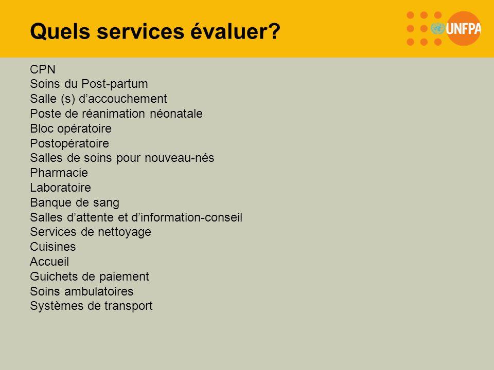 Quels services évaluer? CPN Soins du Post-partum Salle (s) daccouchement Poste de réanimation néonatale Bloc opératoire Postopératoire Salles de soins