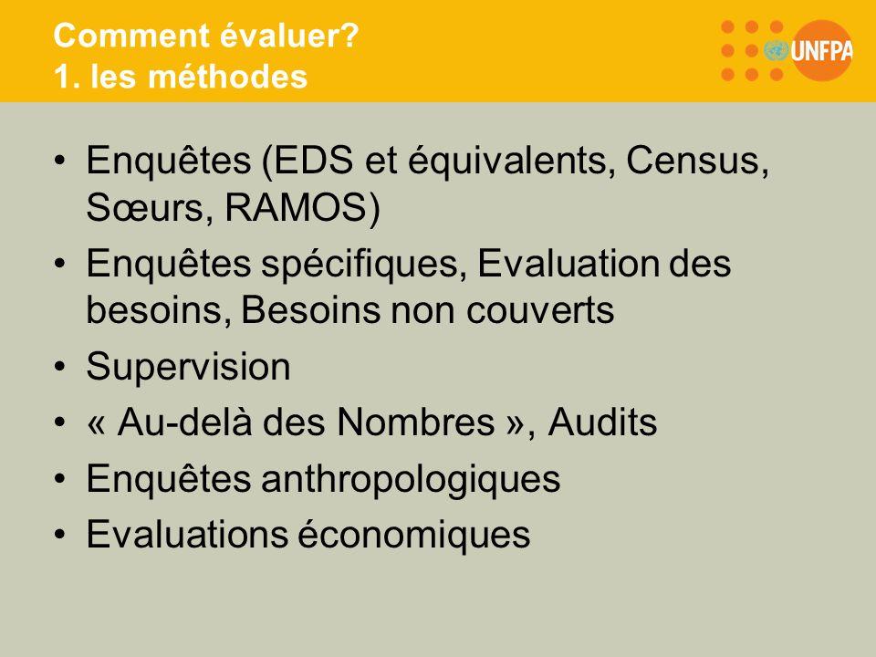 Comment évaluer? 1. les méthodes Enquêtes (EDS et équivalents, Census, Sœurs, RAMOS) Enquêtes spécifiques, Evaluation des besoins, Besoins non couvert