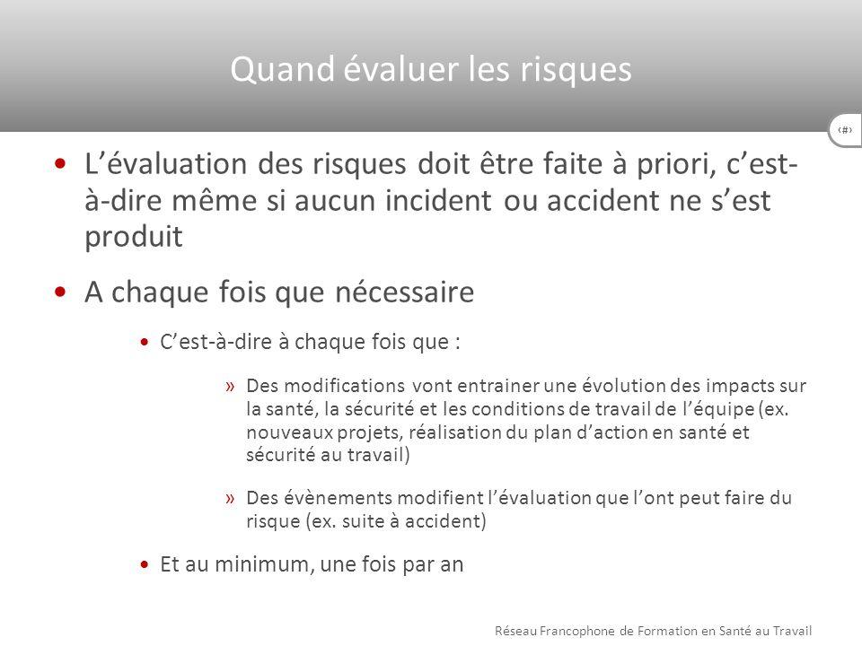 30 Lévaluation des risques doit être faite à priori, cest- à-dire même si aucun incident ou accident ne sest produit A chaque fois que nécessaire Cest