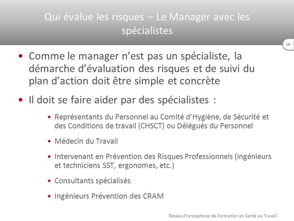 35 Comme le manager nest pas un spécialiste, la démarche dévaluation des risques et de suivi du plan daction doit être simple et concrète Il doit se f