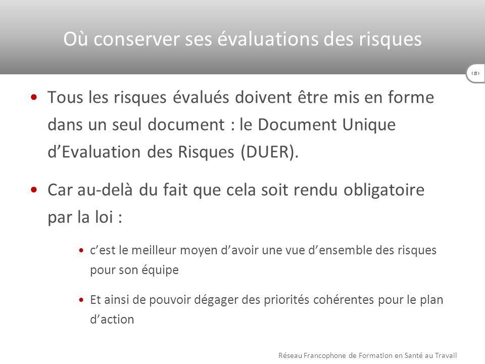 41 Tous les risques évalués doivent être mis en forme dans un seul document : le Document Unique dEvaluation des Risques (DUER). Car au-delà du fait q