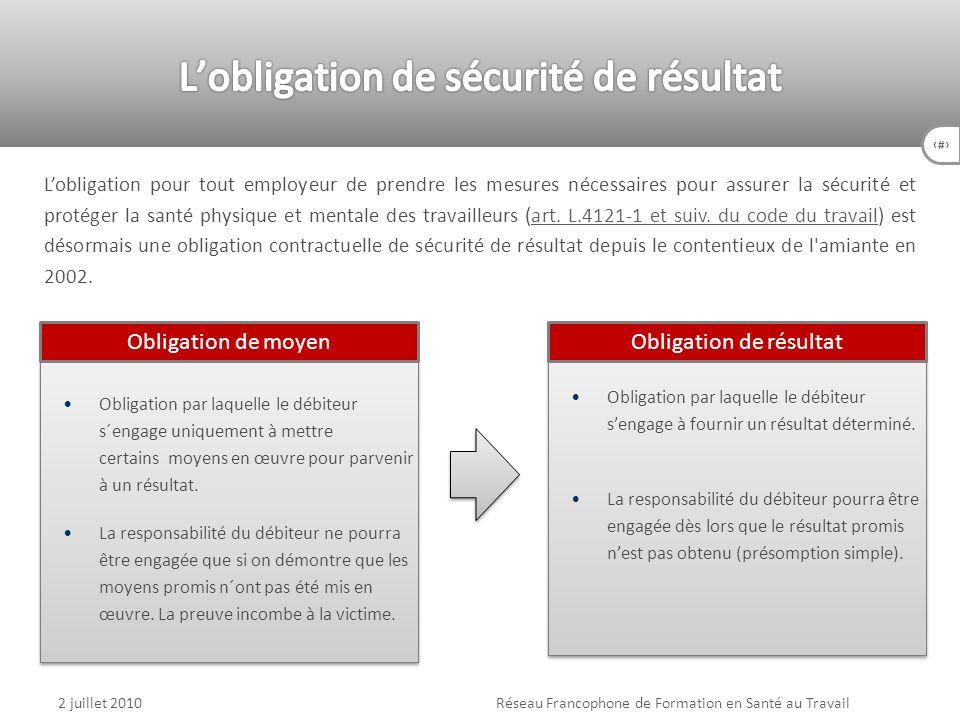 64 2 juillet 2010Réseau Francophone de Formation en Santé au Travail Obligation par laquelle le débiteur sengage à fournir un résultat déterminé. La r
