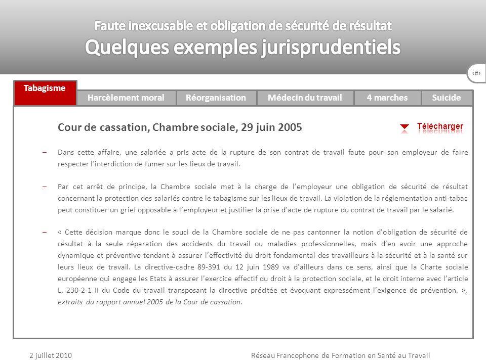 73 4 marches 2 juillet 2010Réseau Francophone de Formation en Santé au Travail Tabagisme Harcèlement moralRéorganisationMédecin du travailSuicide Cour