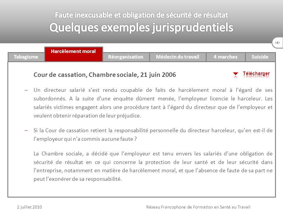 74 4 marchesTabagisme Harcèlement moral RéorganisationMédecin du travail v Suicide 2 juillet 2010Réseau Francophone de Formation en Santé au Travail C