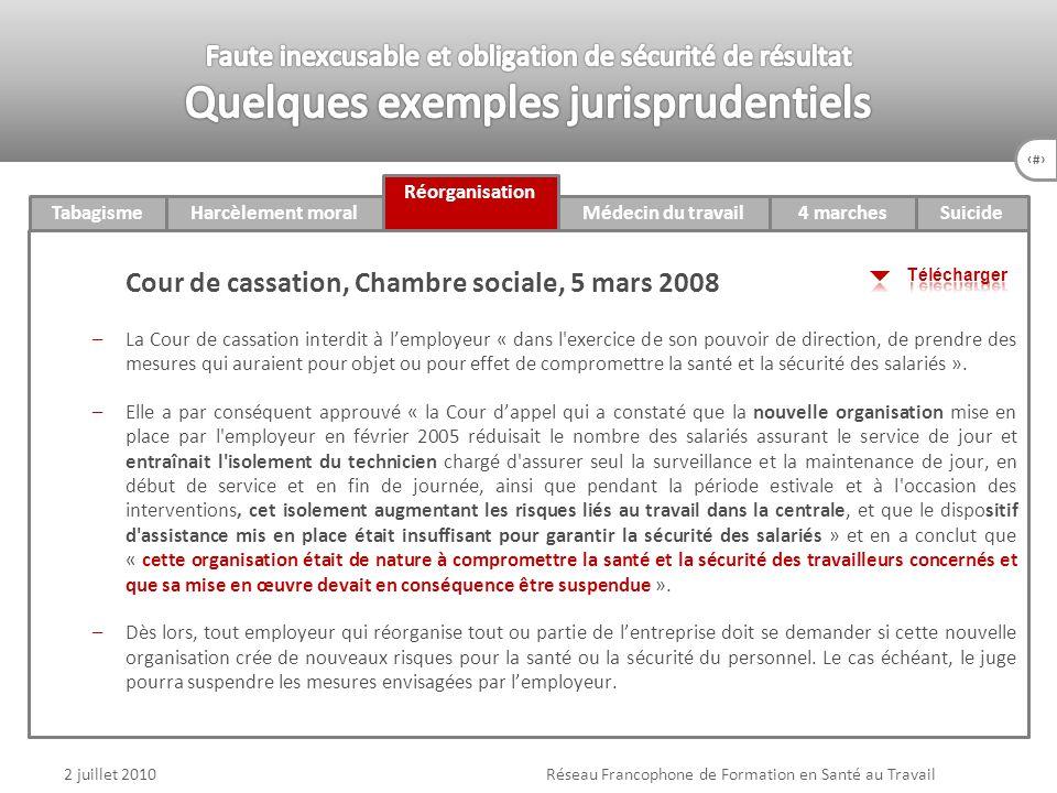 75 4 marchesTabagismeHarcèlement moral Réorganisation Médecin du travail v Suicide 2 juillet 2010Réseau Francophone de Formation en Santé au Travail C