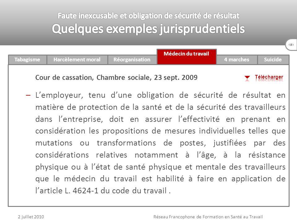 76 4 marchesTabagismeHarcèlement moralRéorganisation Médecin du travail Suicide 2 juillet 2010Réseau Francophone de Formation en Santé au Travail Cour