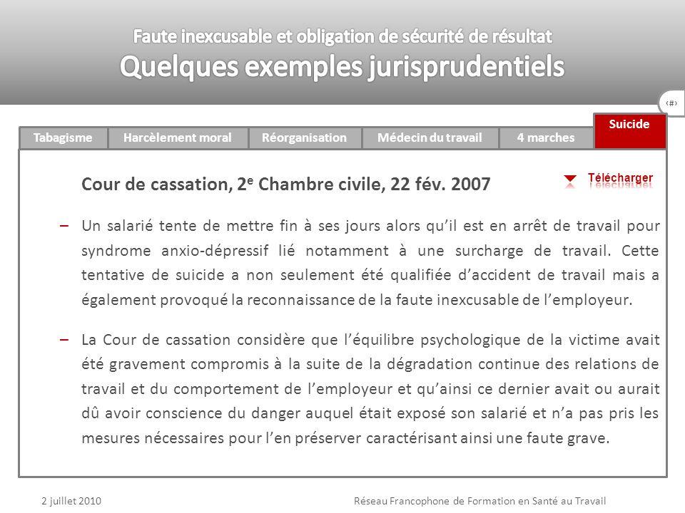 78 4 marchesTabagismeHarcèlement moralRéorganisationMédecin du travail v Suicide 2 juillet 2010Réseau Francophone de Formation en Santé au Travail Cou