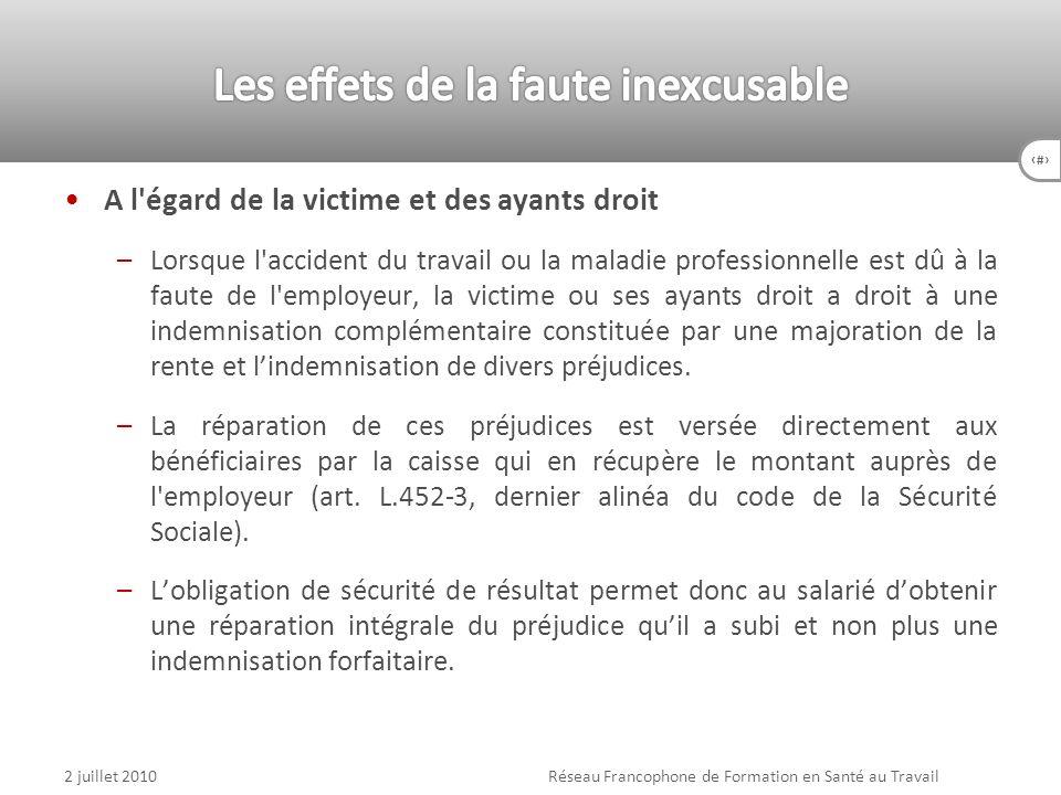 79 A l'égard de la victime et des ayants droit –Lorsque l'accident du travail ou la maladie professionnelle est dû à la faute de l'employeur, la victi