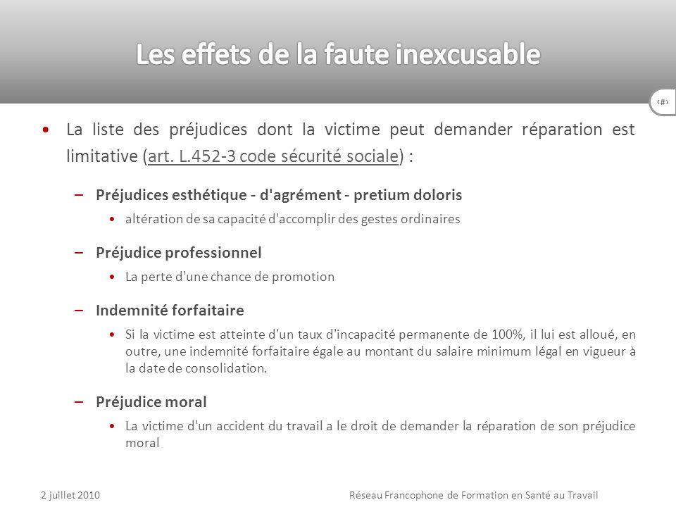 80 La liste des préjudices dont la victime peut demander réparation est limitative (art. L.452-3 code sécurité sociale) :art. L.452-3 code sécurité so