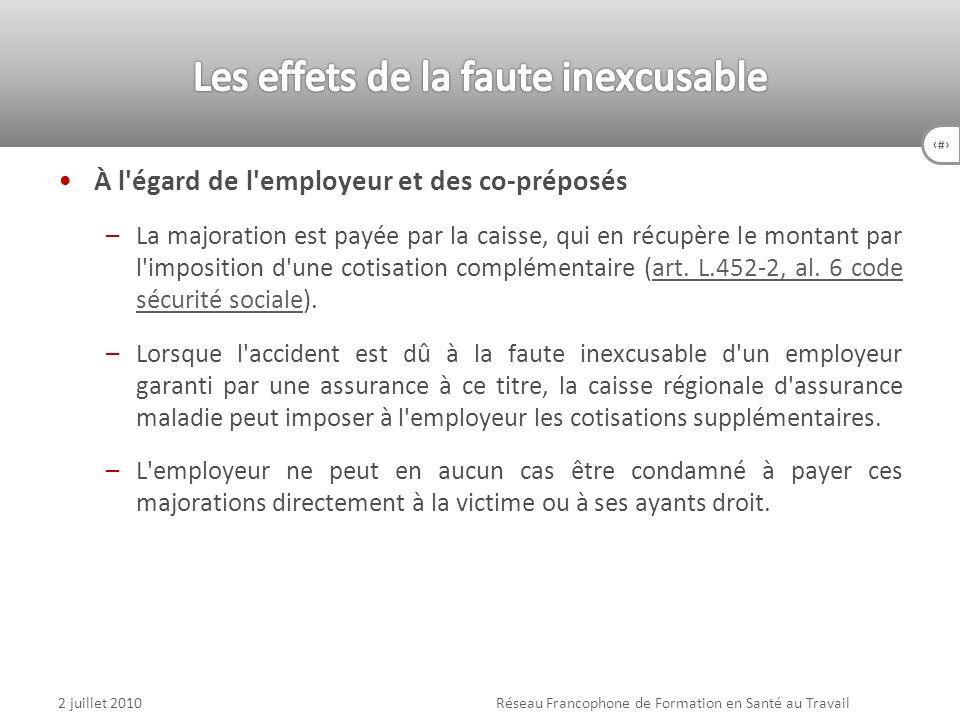 81 À l'égard de l'employeur et des co-préposés –La majoration est payée par la caisse, qui en récupère le montant par l'imposition d'une cotisation co