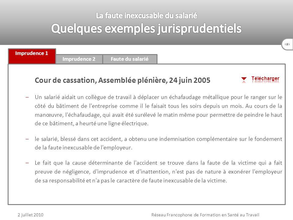 84 Imprudence 1 Imprudence 2Faute du salarié 2 juillet 2010Réseau Francophone de Formation en Santé au Travail Cour de cassation, Assemblée plénière,