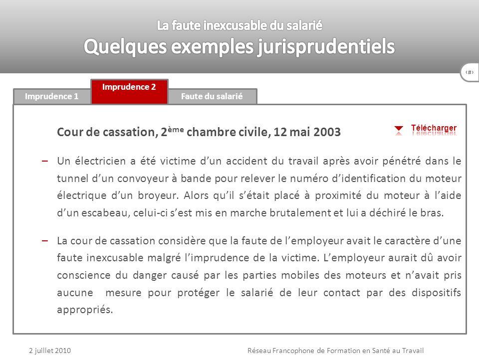 85 Faute du salariéImprudence 1 Imprudence 2 2 juillet 2010Réseau Francophone de Formation en Santé au Travail Cour de cassation, 2 ème chambre civile