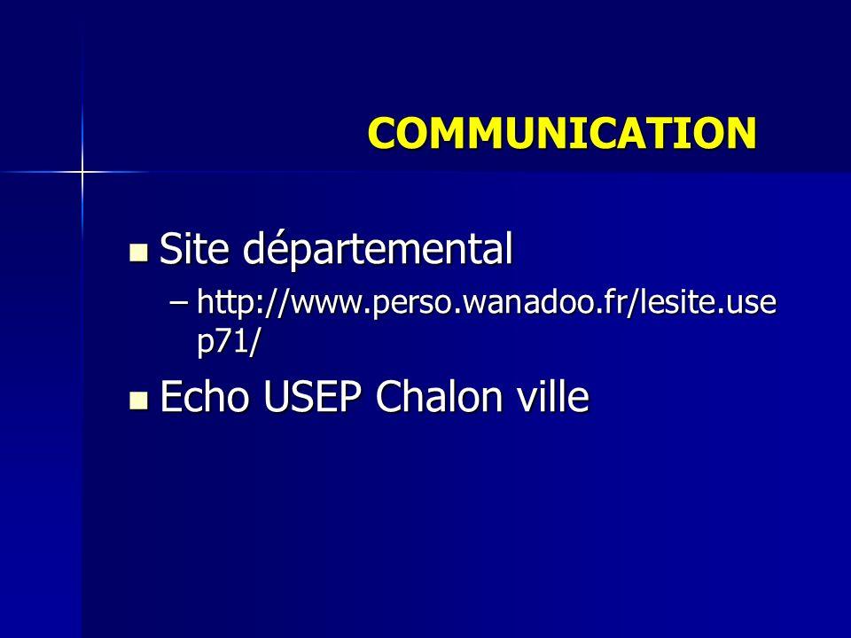 Site départemental Site départemental –http://www.perso.wanadoo.fr/lesite.use p71/ Echo USEP Chalon ville Echo USEP Chalon ville COMMUNICATION