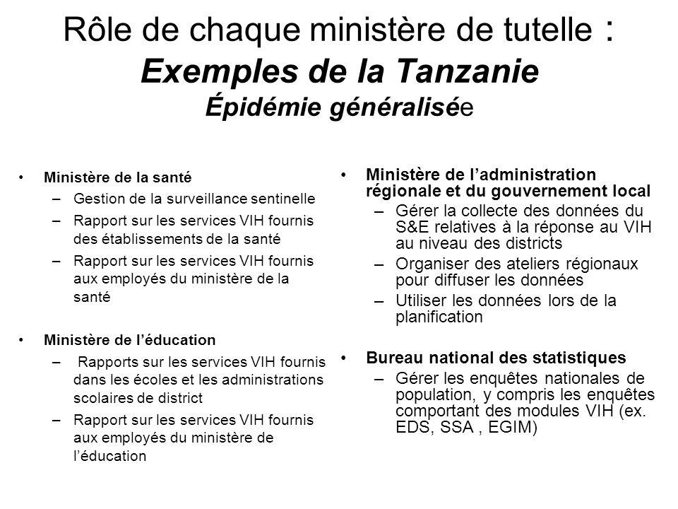 Rôle de chaque ministère de tutelle : Exemples de la Tanzanie Épidémie généralisée Ministère de la santé –Gestion de la surveillance sentinelle –Rappo