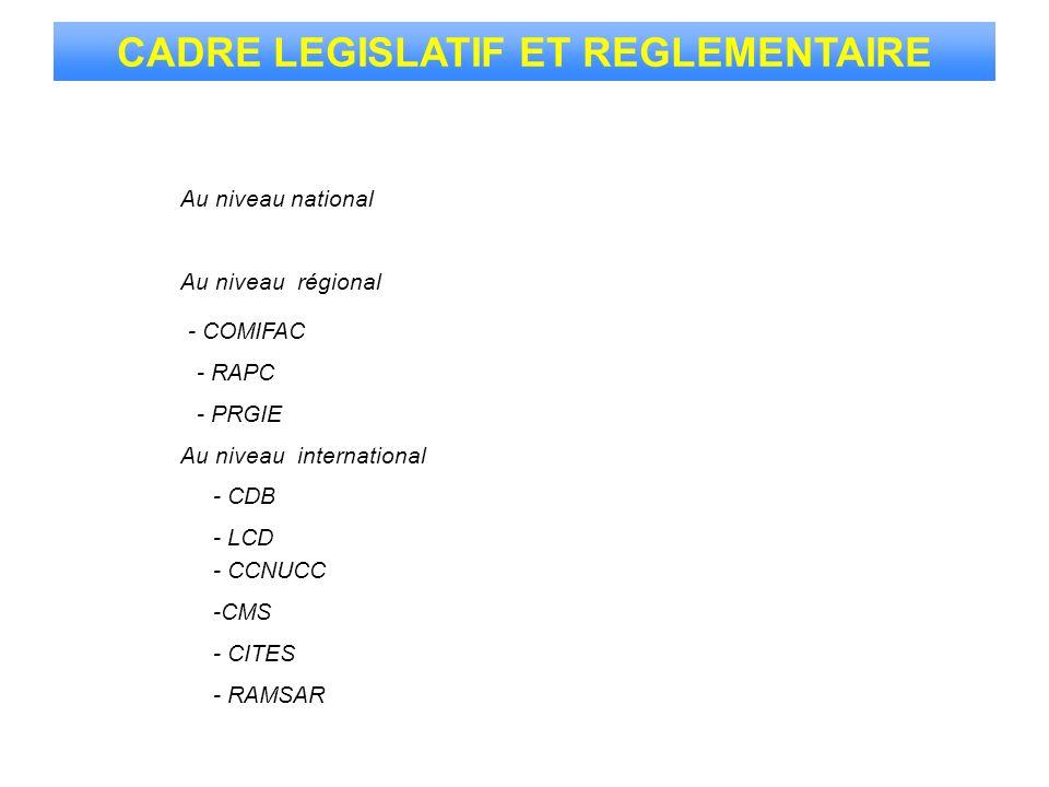 CADRE LEGISLATIF ET REGLEMENTAIRE Au niveau national Au niveau international Au niveau régional - RAMSAR - CCNUCC - LCD - CDB -CMS - CITES - COMIFAC -
