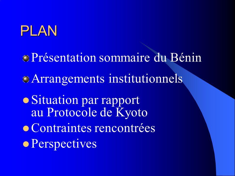 PLAN Présentation sommaire du Bénin Arrangements institutionnels Situation par rapport au Protocole de Kyoto Contraintes rencontrées Perspectives