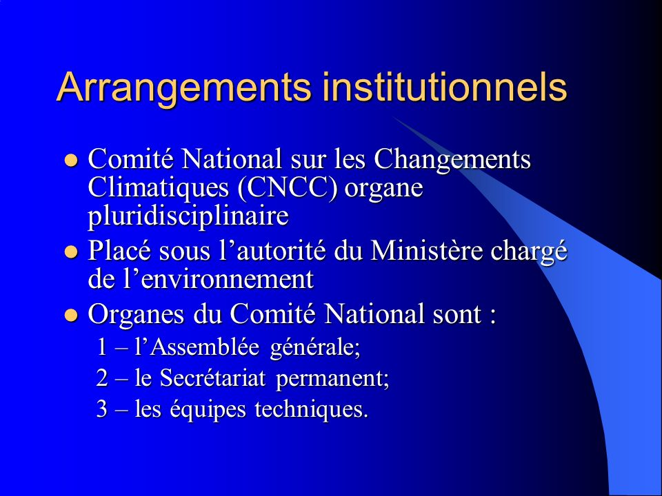 Arrangements institutionnels Comité National sur les Changements Climatiques (CNCC) organe pluridisciplinaire Comité National sur les Changements Clim
