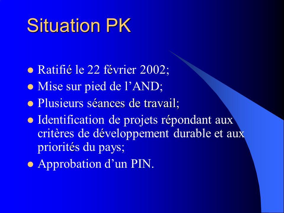 Situation PK éé Ratifié le 22 février 2002; Mise sur pied de lAND; éances de travail; Plusieurs séances de travail; é é é Identification de projets répondant aux critères de développement durable et aux priorités du pays; Approbation dun PIN.