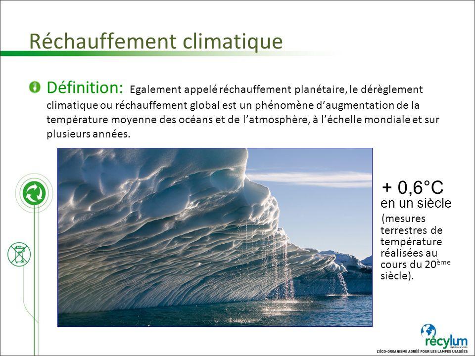 Réchauffement climatique Définition: Egalement appelé réchauffement planétaire, le dérèglement climatique ou réchauffement global est un phénomène dau