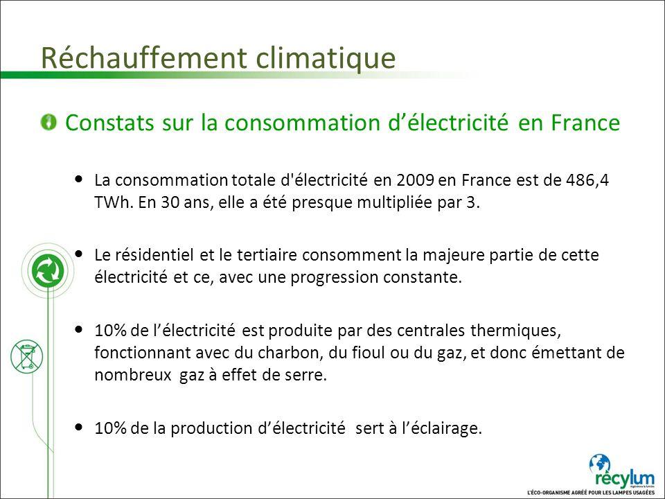 Réchauffement climatique Constats sur la consommation délectricité en France La consommation totale d'électricité en 2009 en France est de 486,4 TWh.