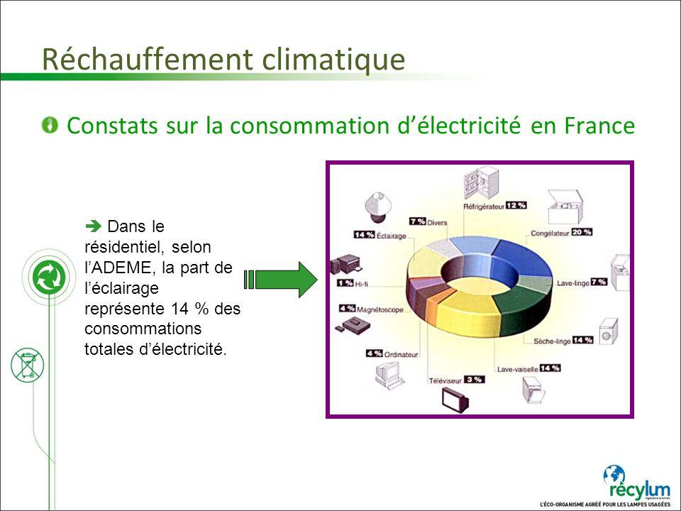 Réchauffement climatique Constats sur la consommation délectricité en France Dans le résidentiel, selon lADEME, la part de léclairage représente 14 %
