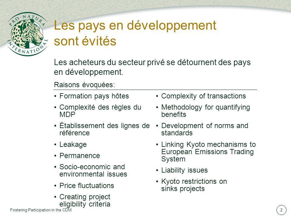 Fostering Participation in the CDM2 Les pays en développement sont évités Raisons évoquées: Les acheteurs du secteur privé se détournent des pays en développement.