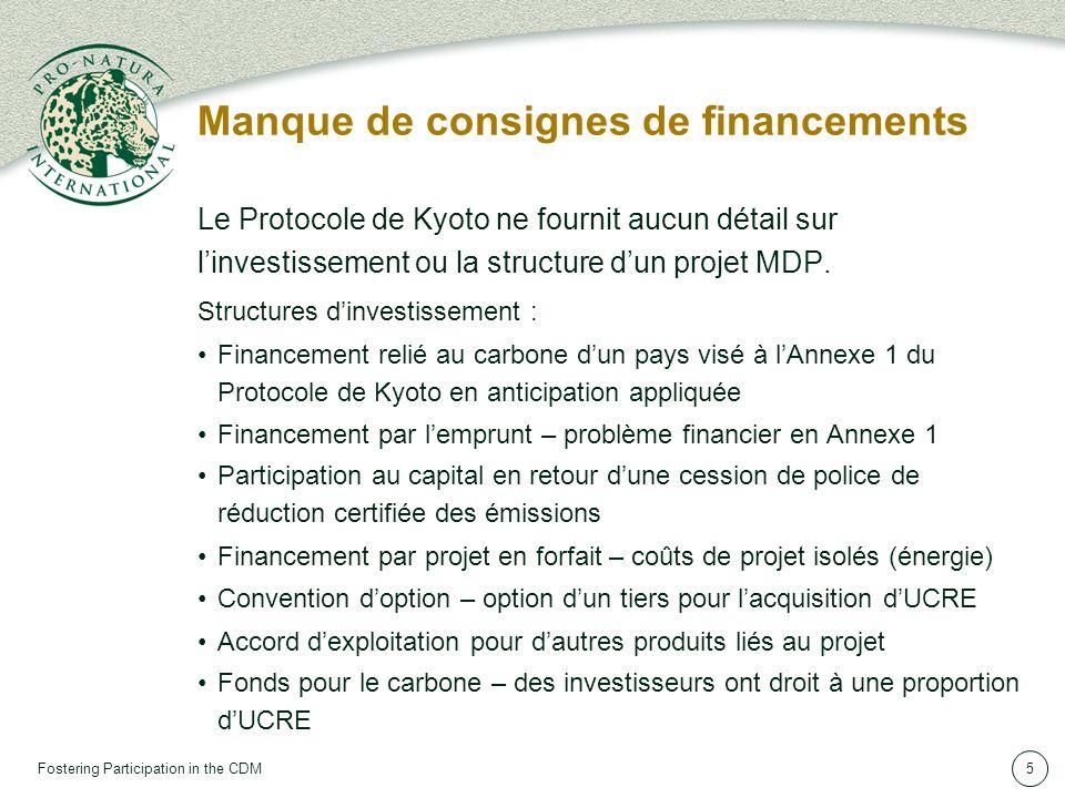 Fostering Participation in the CDM5 Manque de consignes de financements Le Protocole de Kyoto ne fournit aucun détail sur linvestissement ou la structure dun projet MDP.