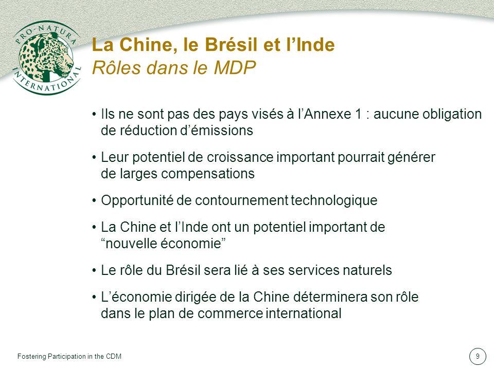Fostering Participation in the CDM9 La Chine, le Brésil et lInde Rôles dans le MDP Ils ne sont pas des pays visés à lAnnexe 1 : aucune obligation de réduction démissions Leur potentiel de croissance important pourrait générer de larges compensations Opportunité de contournement technologique La Chine et lInde ont un potentiel important de nouvelle économie Le rôle du Brésil sera lié à ses services naturels Léconomie dirigée de la Chine déterminera son rôle dans le plan de commerce international