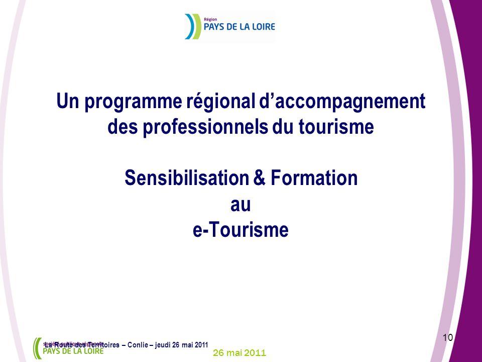 26 mai 2011 10 La Route des Territoires – Conlie – jeudi 26 mai 2011 Un programme régional daccompagnement des professionnels du tourisme Sensibilisat