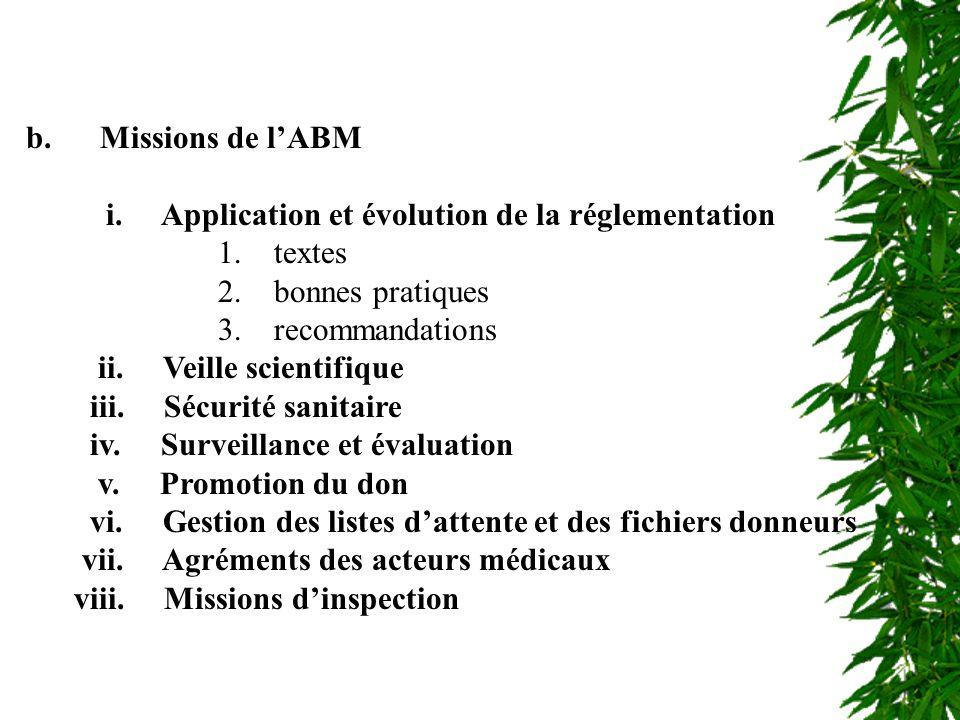 Missions de lABM b. Missions de lABM i. Application et évolution de la réglementation 1. textes 2. bonnes pratiques 3. recommandations ii. Veille scie