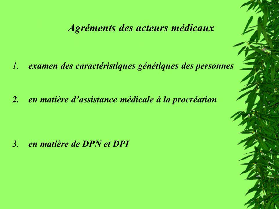 Agréments des acteurs médicaux 1. examen des caractéristiques génétiques des personnes 2. en matière dassistance médicale à la procréation 3. en matiè