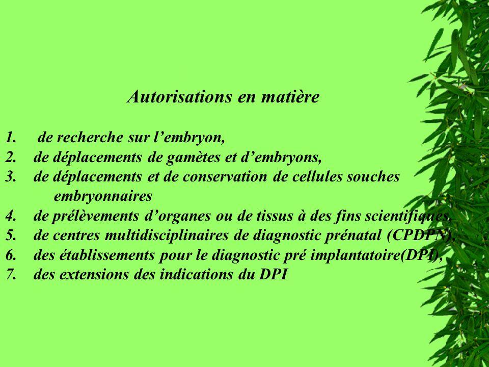 Autorisations Autorisations en matière 1. de recherche sur lembryon, 2. de déplacements de gamètes et dembryons, 3. de déplacements et de conservation