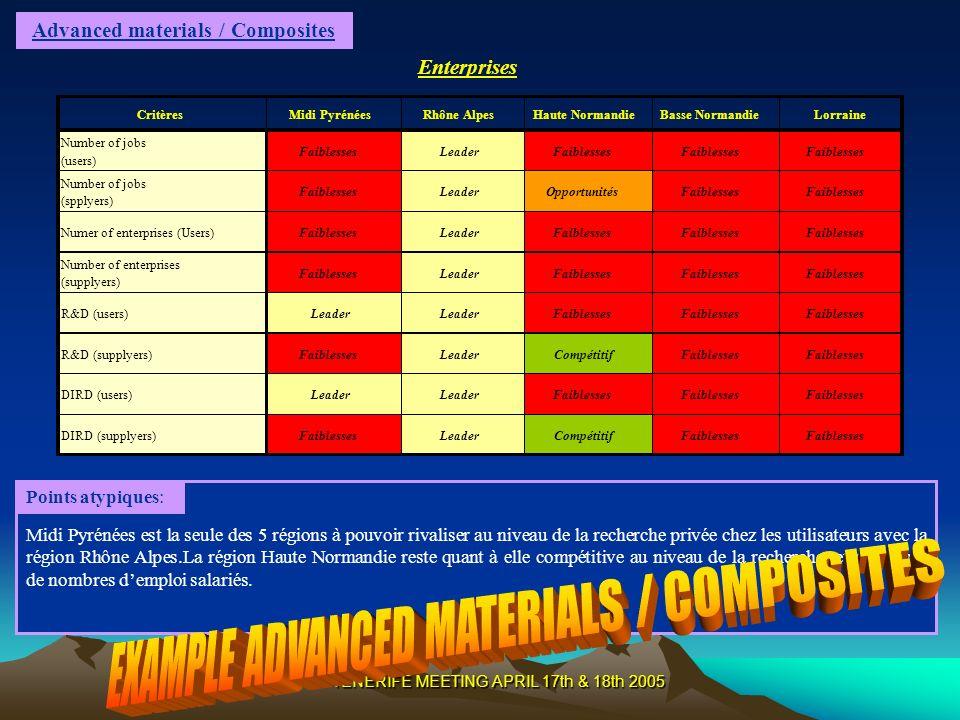TENERIFE MEETING APRIL 17th & 18th 2005 Advanced materials / Composites Midi Pyrénées est la seule des 5 régions à pouvoir rivaliser au niveau de la r
