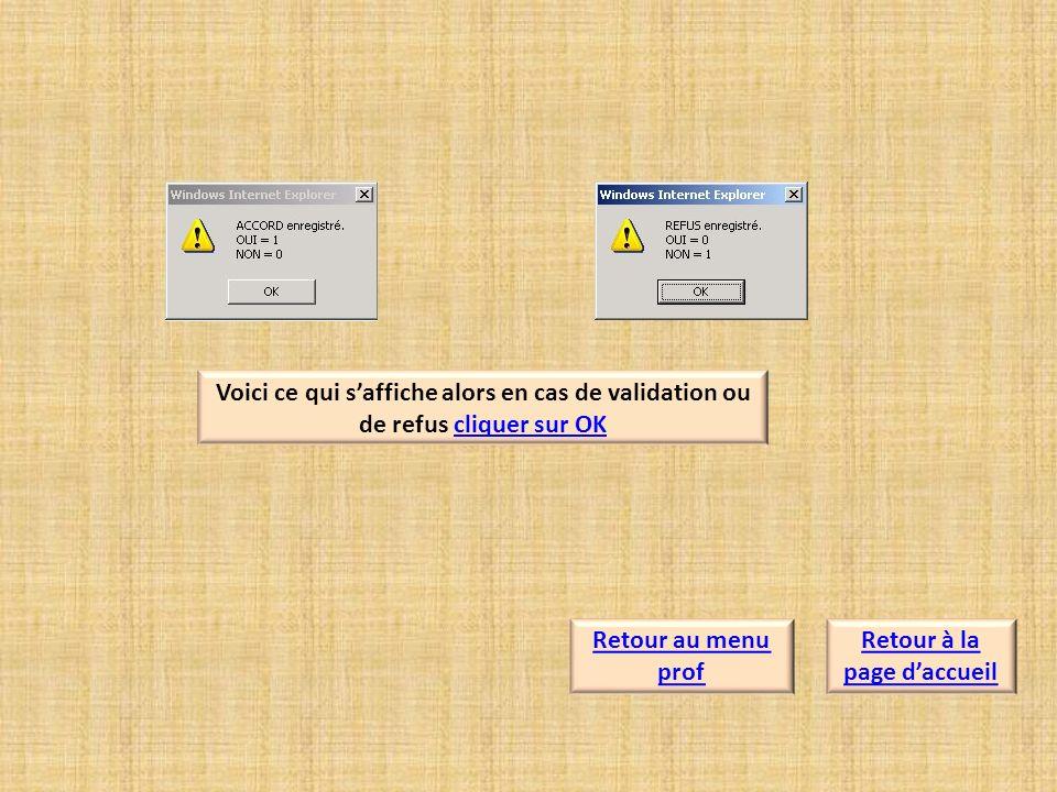 Voici ce qui saffiche alors en cas de validation ou de refus cliquer sur OKcliquer sur OK Retour à la page daccueil Retour au menu prof
