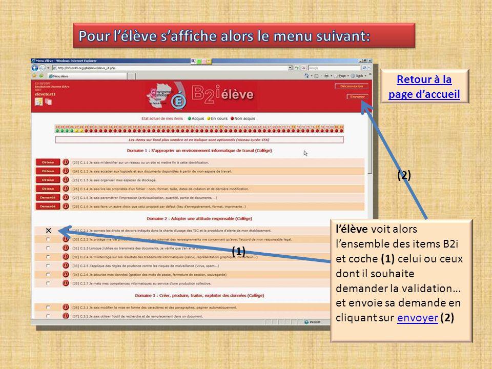 lélève voit alors lensemble des items B2i et coche (1) celui ou ceux dont il souhaite demander la validation… et envoie sa demande en cliquant sur envoyer (2)envoyer × (1) (2) Retour à la page daccueil