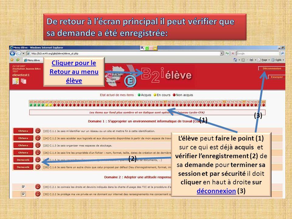 Lélève peut faire le point (1) sur ce qui est déjà acquis et vérifier lenregistrement (2) de sa demande pour terminer sa session et par sécurité il doit cliquer en haut à droite sur déconnexion (3) déconnexion (1) (3) (2) Cliquer pour le Retour au menu élève