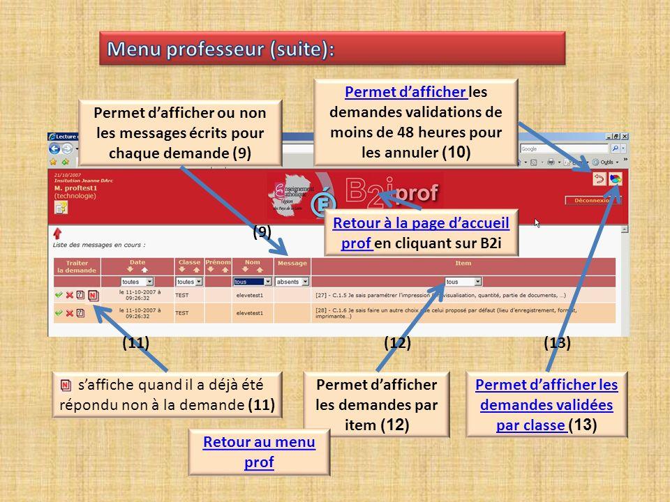 Permet dafficher les demandes par item (12) (12) saffiche quand il a déjà été répondu non à la demande (11) (11) Permet dafficher ou non les messages