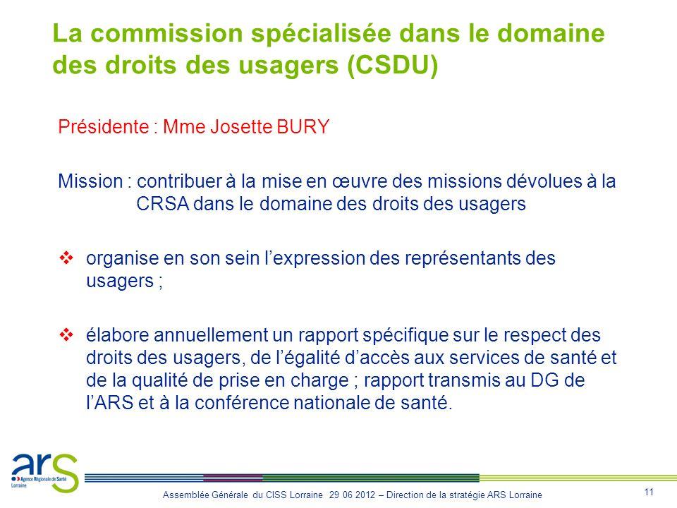 11 Assemblée Générale du CISS Lorraine 29 06 2012 – Direction de la stratégie ARS Lorraine La commission spécialisée dans le domaine des droits des us