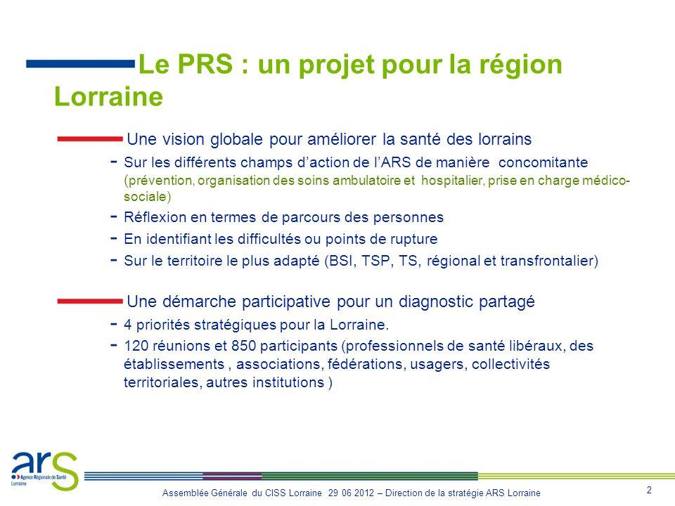 2 Assemblée Générale du CISS Lorraine 29 06 2012 – Direction de la stratégie ARS Lorraine Le PRS : un projet pour la région Lorraine Une vision global