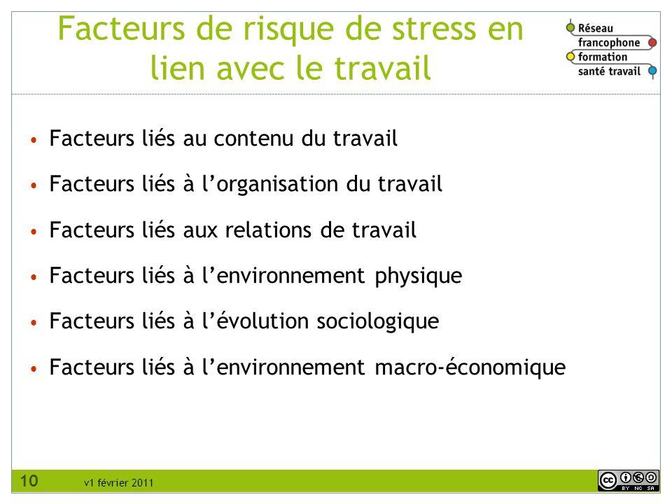v1 février 2011 Facteurs de risque de stress en lien avec le travail Facteurs liés au contenu du travail Facteurs liés à lorganisation du travail Fact