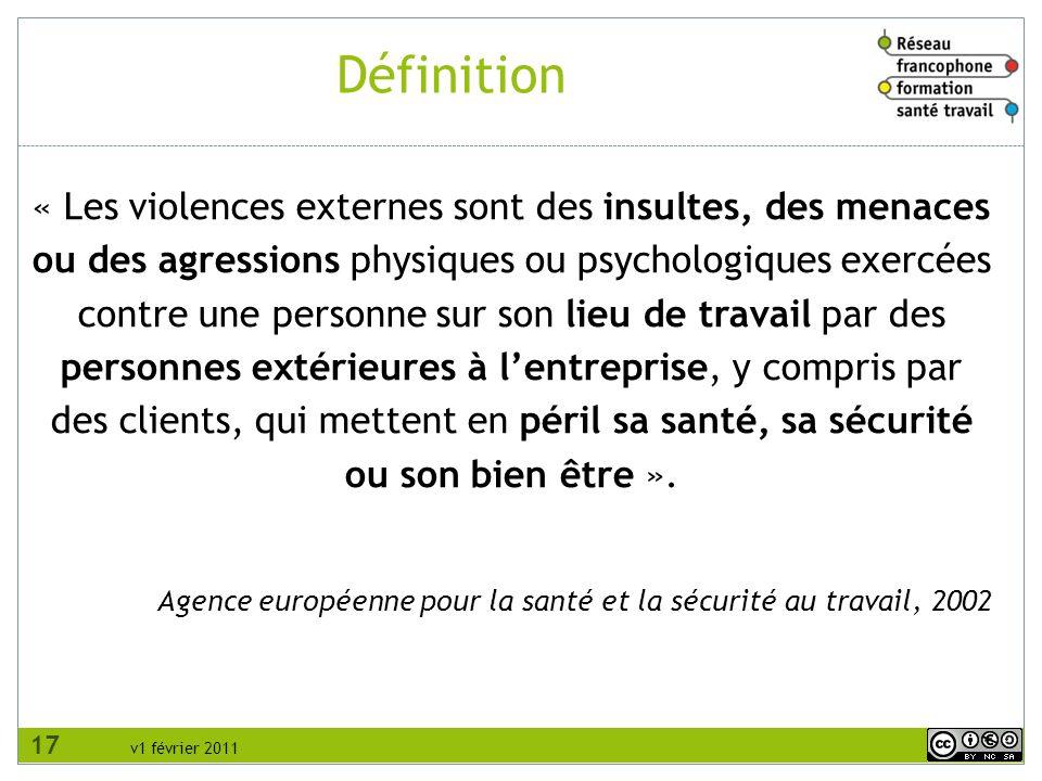 v1 février 2011 Définition « Les violences externes sont des insultes, des menaces ou des agressions physiques ou psychologiques exercées contre une p