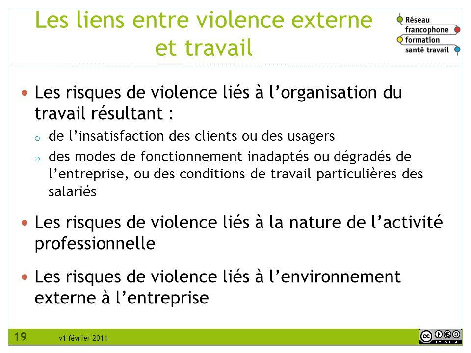 v1 février 2011 Les risques de violence liés à lorganisation du travail résultant : o de linsatisfaction des clients ou des usagers o des modes de fon
