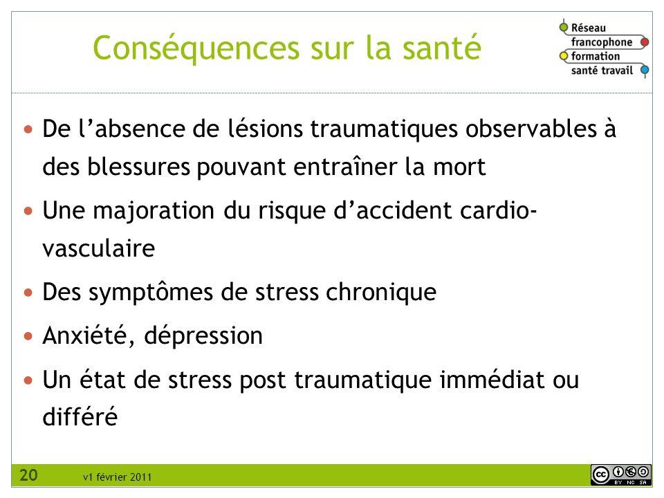 v1 février 2011 Conséquences sur la santé De labsence de lésions traumatiques observables à des blessures pouvant entraîner la mort Une majoration du