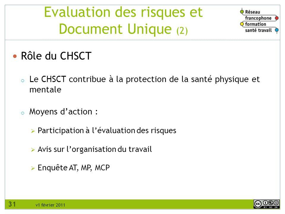 v1 février 2011 Evaluation des risques et Document Unique (3) Rôle des salariés o Les actions possibles des salariés / RPS sont les mêmes que pour les autres risques professionnels 32