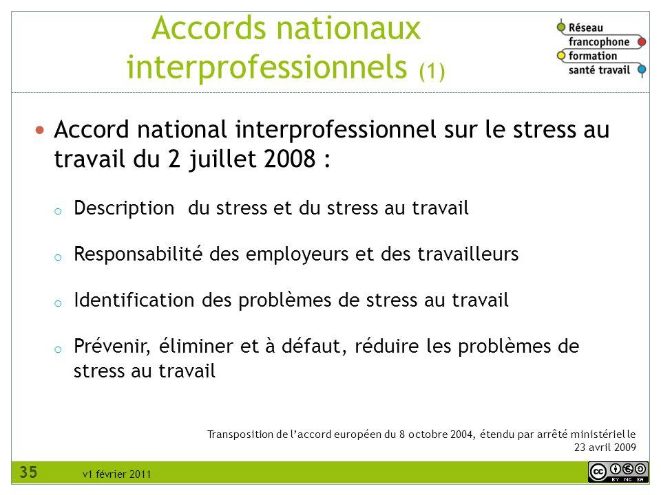 v1 février 2011 Transposition de laccord européen du 8 octobre 2004, étendu par arrêté ministériel le 23 avril 2009 Accords nationaux interprofessionn