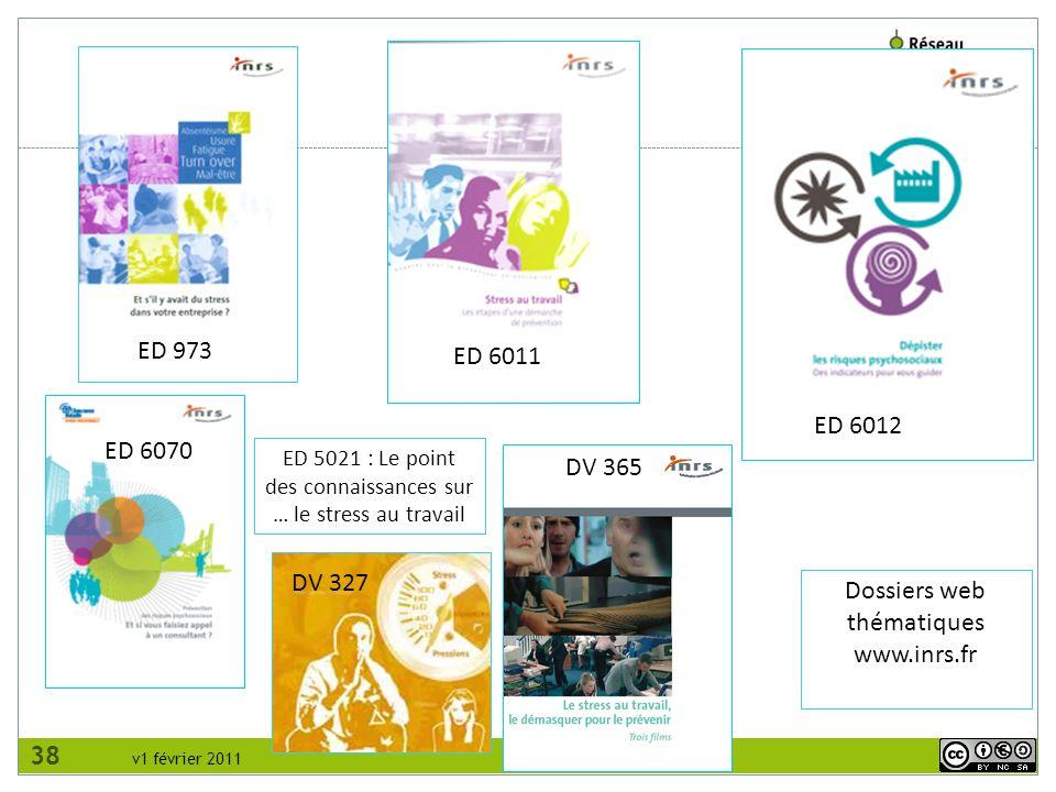 v1 février 2011 ED 6011 ED 973 ED 6012 DV 327 Dossiers web thématiques www.inrs.fr DV 365 ED 6070 ED 5021 : Le point des connaissances sur … le stress