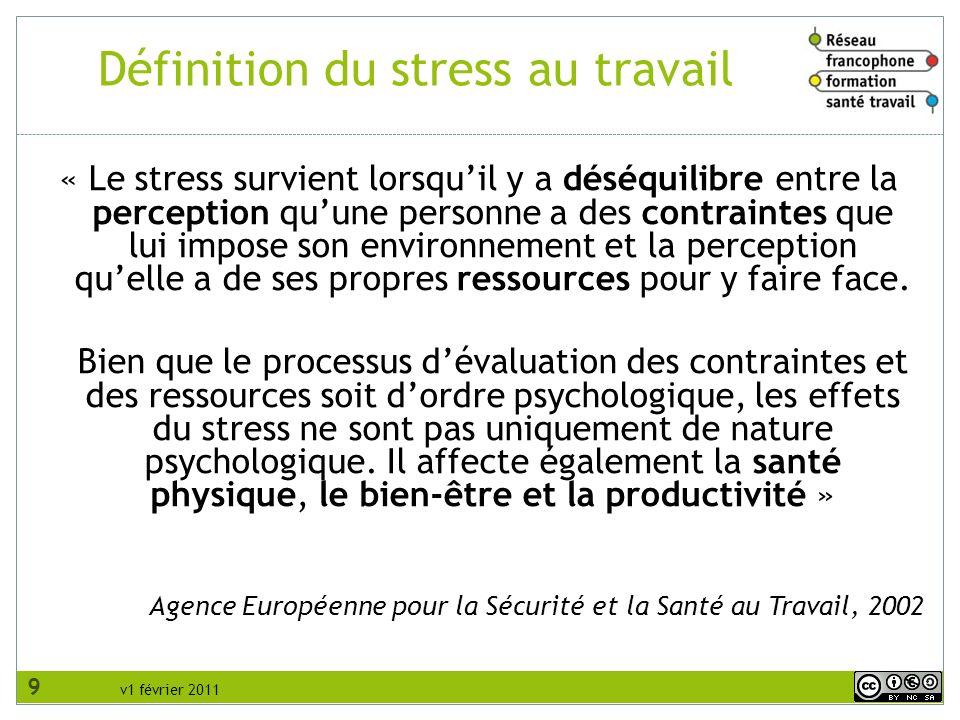 v1 février 2011 Définition du stress au travail « Le stress survient lorsquil y a déséquilibre entre la perception quune personne a des contraintes qu